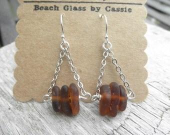 Brown Chain Lake Erie Beach Glass Earrings Ohio