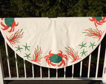 "Limited Edition CHRISTMAS IN the NORTHWEST tree skirt 52"" (137cm) ships tomorrow one only crab sea star algae Christmas  beach starfish"