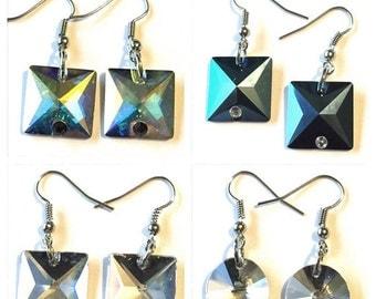 Crystal Pyramid Dome Earrings Silver Pierced Rhinestone Great Gift Idea Jewelry Blue Aurora Borealis Black Purple Blue White