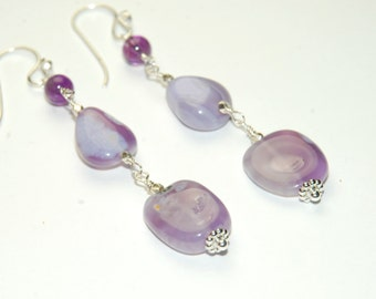 Lavender Chalcedony Earrings, Chunky Stone Earrings, Amethyst, Long Earrings, wire wrapped, Purple earrings