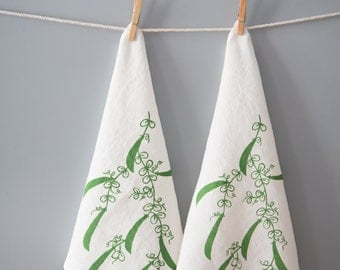 Cloth Napkins- Organic Linen Napkins-  Peas - Set of Two Seconds- Sale- Screen Printed