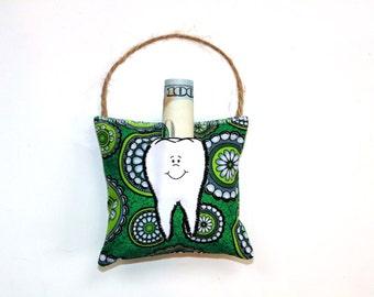 Tooth fairy pillow, bright green lime modern, boy or girl pillow, dental pillow, small pillow, hanging pillow