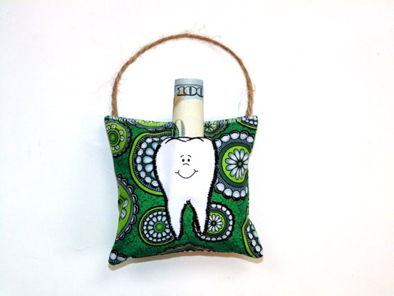 Items similar to Tooth fairy pillow, bright green lime modern, boy or girl pillow, dental pillow ...