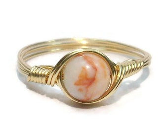 Red Line Marble 14k Yellow Gold Filled Custom Sized Wire Wrapped Ring