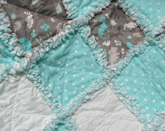 Baby girl rag quilt, shabby chic,  mint,  polka dots, animals