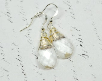 Crystal Wire Wrap Earrings, Modern Minimalist Silver Drops, Sparkly Crystal Clear Dangles, Simple Jewelry