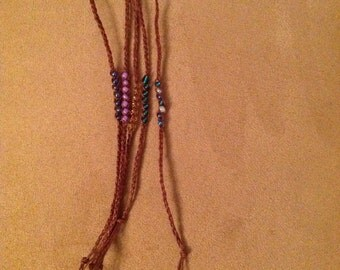 Natural Hemp with Glass Beads Wishing Bracelets