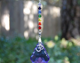 Purple Om Chakra Crystal Suncatcher, Rearview Mirror Car Charm, Swarovski Rainbow Crystal Decoration, Pick Your Color Prism