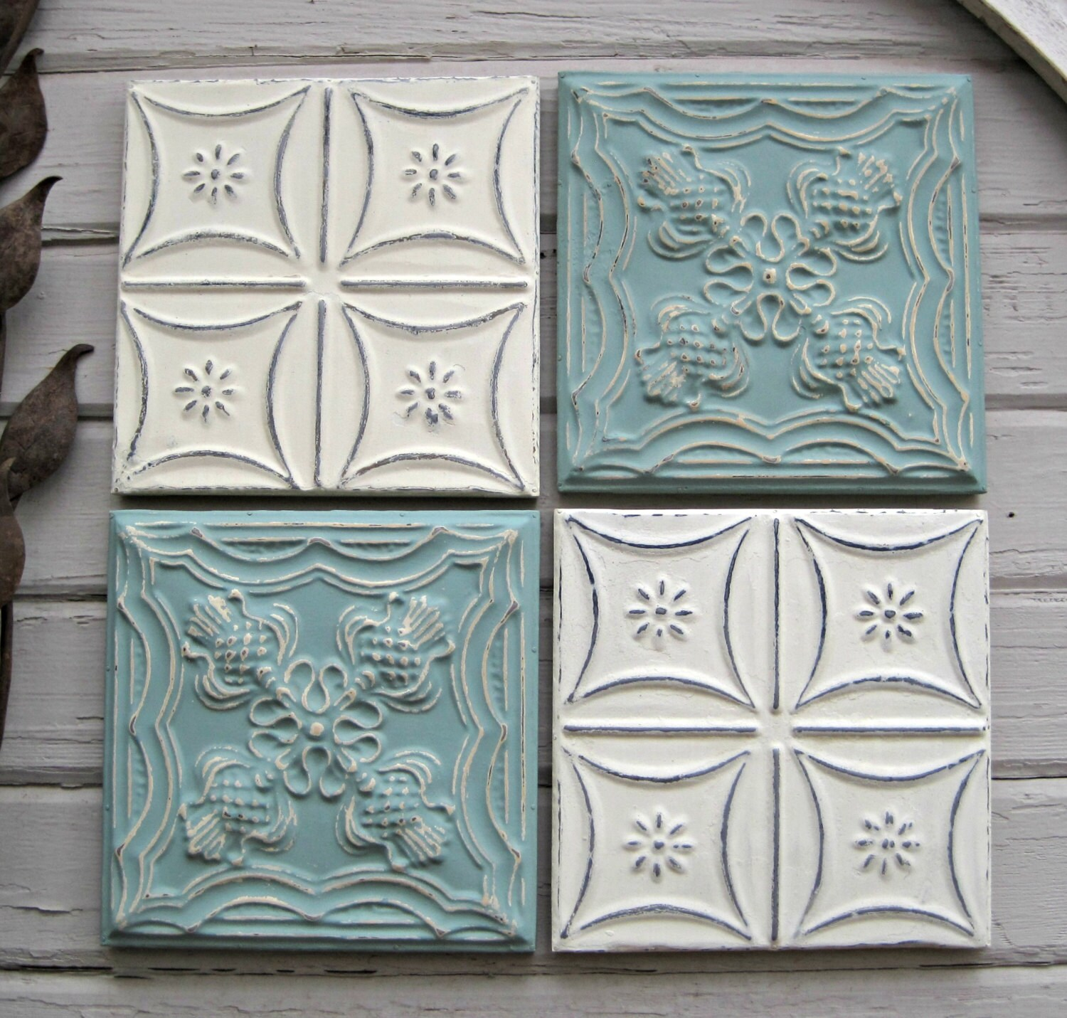 Tin ceiling tile set of 4 12 x 12 framed tiles for Individual ceiling tiles for sale