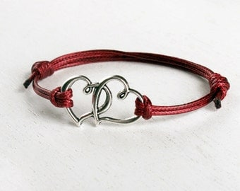 Double Heart Bracelet, Heart to Heart Bracelet (many cord colors to choose)