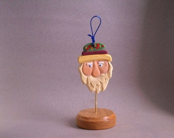Wood Carved Santa Christmas ornament
