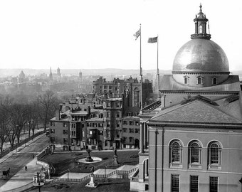 Massachusetts State House Boston Common Beacon Street 1900 1910 Victorian Edwardian Vintage City Architecture Photography Photo Print