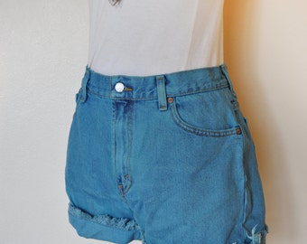 Teal Sz 10 Levi's 550 SHORTS - Hand Dyed Turquoise Teal Urban Style Denim High Waist Denim Cut Off Shorts - Adult Womens Size 10 (30 Waist)