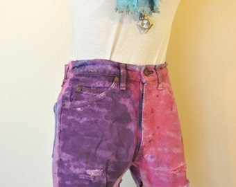 "Pink Violet 30"" Waist Levi's Denim SHORTS - Hand Dyed Purple Pink Urban Style High Rise Denim Distressed Destroyed Shorts - Size 30"