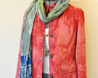 """Red Petite Small Cotton JACKET - Upcycled Cherry Red Dyed Christopher & Banks Cotton Military Blazer Jacket - Adult Womens Small (36"""" chest)"""