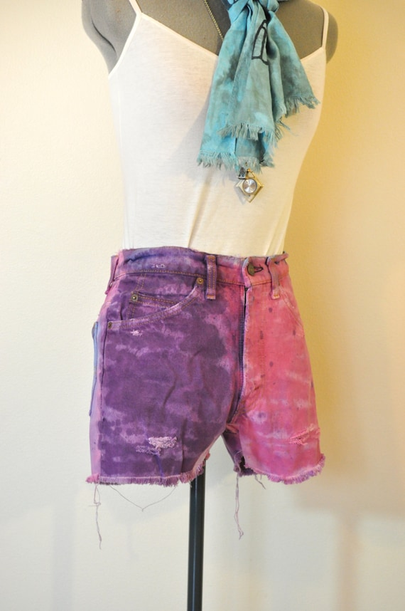"Pink Violet 30"" Waist Levi's Denim SHORTS - Hand Dyed Purple Pink Urban Style High Rise Denim Distressed Destroyed Shorts - Size 30"