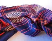Patriotic Scarf, Red White Navy Blue, Nautical Style, Large Crepe Silk, 70s 80s