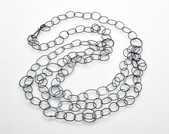Triple Tier Sterling Silver Hand Forged Chain Necklace