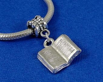 Open Book European Dangle Bead Charm - Silver Open Book Charm for European Bracelet