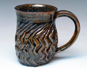 Zig Zag Carved Stoneware Mug in Brown And Blue
