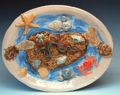 Palissy Style Ocean Tidepool Serving Platter in Browns and Blues