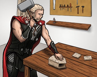 Thor Building a Birdhouse art print