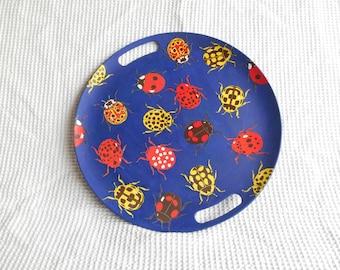 Ladybird Decoupaged Blue Large Tray 35cm Diameter