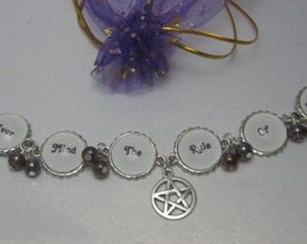 Wiccan rede bracelet - Ever Mind The Rule Of Three  - Wiccan Rede glass cabochon bracelet - pagan jewellery