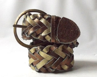 vintage 1980's metallic leather braided belt large brass buckle womens waist size 30-32 medium fashion accessories accessory wide thick big