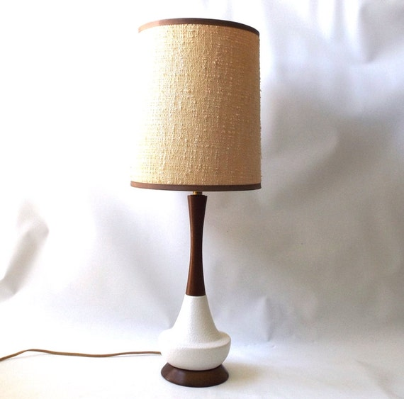 Fillable Glass Table Lamp Base vintage 1950's saucer table lamp white textured teak wood shade light ...
