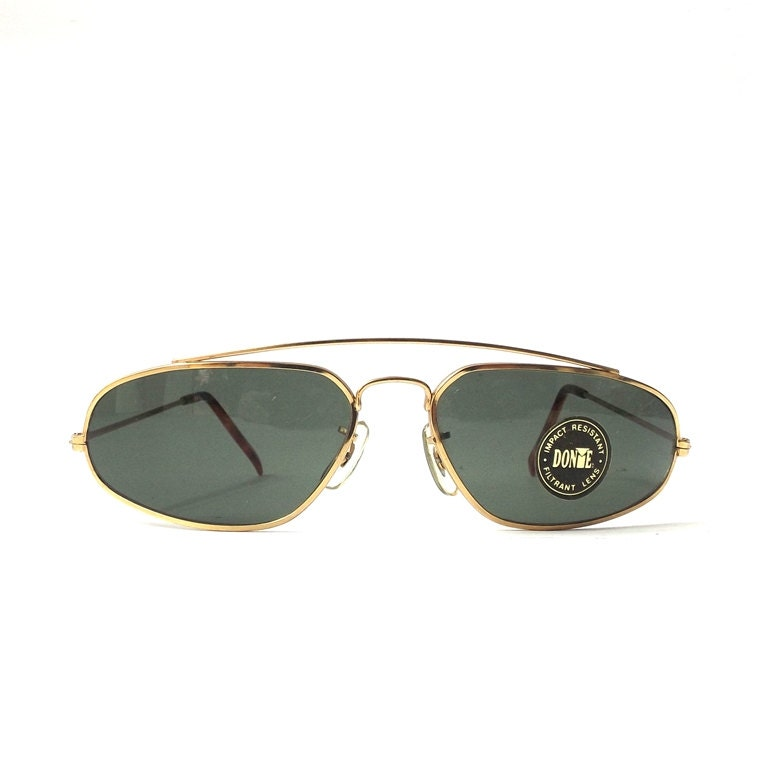 vintage 1980s NOS oval sunglasses gold metal wire frames