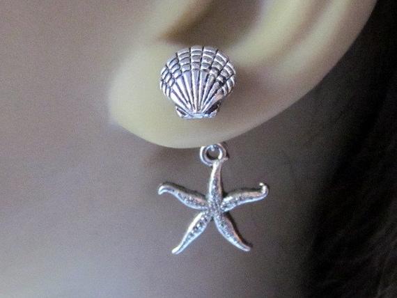 Shell Starfish Double Earrings Front Back Ear Jacket Shellfish Earrings Silver Seastar Studs Trendy Ear Jewelry Reverse Earrings