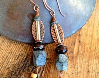 Web Weaver Earrings from my Ethnic Isle Collection - Black Onyx, Handmade Copper Wires - Earthy Tribal Jewelry by YaYJewelry