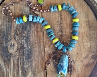 Petal Pod Necklace, Tied Jewelry, Apatite, Teal Blue, Chartreuse, Earthy Boho Style Jewelry by YaY Jewelry