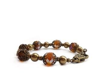 Topaz Amber Bracelet - Retro Victorian Style - Bronze Swarovski Pearls - Brown Bracelet - Classic Elegant Bracelet