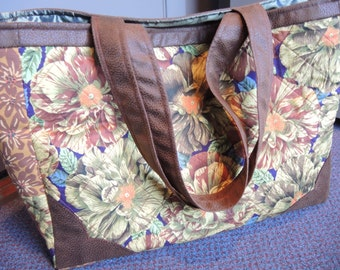 Padded Cotton Tote With 'Leather' Corners, Bags and Purses, Totes