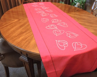 White Hearts Embroidered Table Runner, Table Linens, Kitchen and Dining
