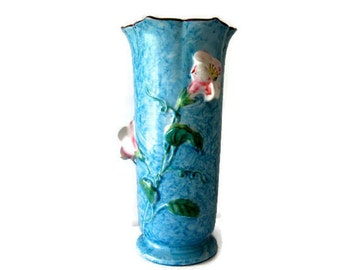Vintage Hand Painted Aqua Vase Nagoya Japan