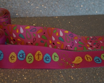Easter combo grosgrain ribbon pink and pastel 1.5 inch width
