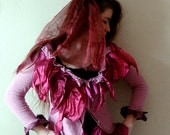 Tattered 3 piece Set,Lavender Upcyled Jacket with two pieces maroon wedding hair accessories short veil
