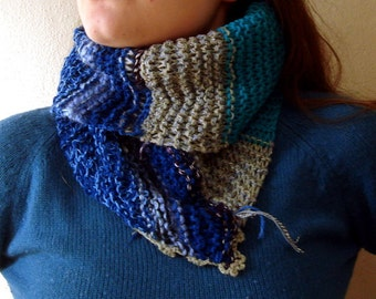 Chunky Knit Cowl Scarf, Assymetrical women accessories, knitted cowl Neck warmer Cowl