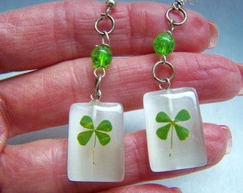 Clover Green Glass Dangle Earrings