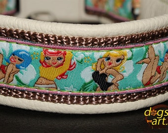 """Dog Collar """"Pin up girls"""" by dogs-art, pin up girls, sexy, comic dog collar, beach dog collar, boy dog collar, funny dog collar, collars"""