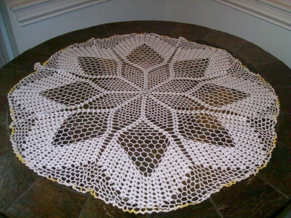 Vintage 26 Round Hand Crocheted Table Topper White