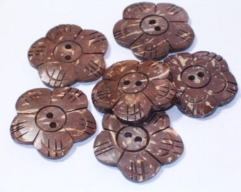Flower Buttons Handcarved Coconut Shell Buttons 23mm Set 6 Sewing Buttons with Holes