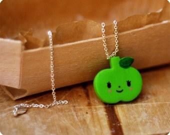 Apple fimo necklace