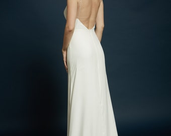 """Minimal Silk Charmeuse, Deep V-neck, Delicate Spaghetti Straps, Ultra-Low with Slight Flare Skirt, The """"Aerin"""" gown"""