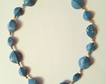 Turquoise Beaded Necklace, Marbelized Beads,  Vintage 1970's 1980's