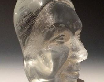 Glass Face Optical Art, Polished Lens Like Sand Cast Head Sculpture Suncatcher Paperweight