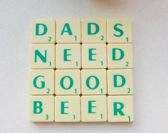 Dads Beer Coaster, Upcycled Scrabble Tiles, Cork Backing, Mens Desk Accessories, Dads stocking filler